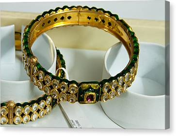 Beautiful Green And Purple Covered Gold Bangles With Semi-precious Stones Inlaid Canvas Print by Ashish Agarwal
