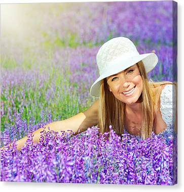 beautiful happy female lying down on lavender field anna omelchenko canvas print Get a Bride Via the internet With Basic steps