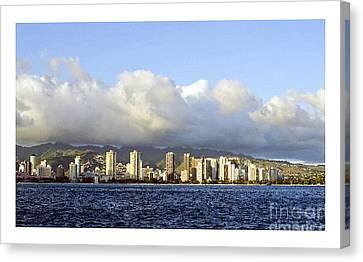 Beautiful Honolulu Skyline Canvas Print by MaryJane Armstrong