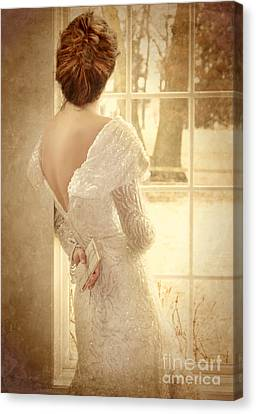 Beautiful Lady In Sequin Gown Looking Out Window Canvas Print by Jill Battaglia