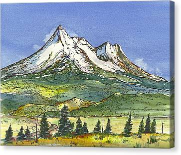 Canvas Print featuring the painting Beautiful Mt Shasta  by Terry Banderas