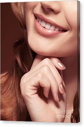 Beautiful Young Smiling Woman Mouth Canvas Print by Oleksiy Maksymenko