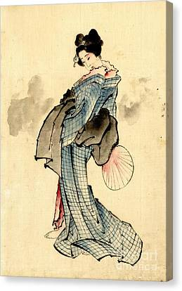 Beauty With Fan 1840 Canvas Print by Padre Art