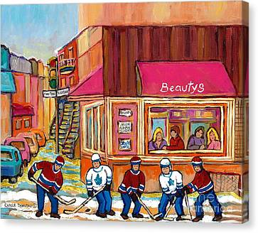 Beauty's Restaurant-montreal Street Scene Painting-hockey Game-hockeyart Canvas Print by Carole Spandau