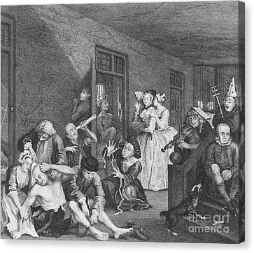 Bedlam By William Hogarth, 1735 Canvas Print by Science Source