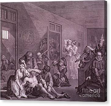Bedlam, Engraving By Hogarth Canvas Print