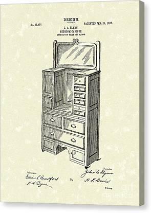 Bedroom Cabinet Design 1907 Patent Art Canvas Print by Prior Art Design