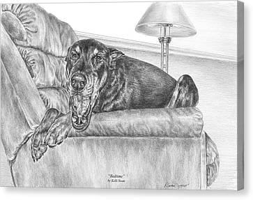 Bedtime - Doberman Pinscher Dog Art Print Canvas Print by Kelli Swan