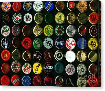 Beer Bottle Caps . 9 To 12 Proportion Canvas Print by Wingsdomain Art and Photography