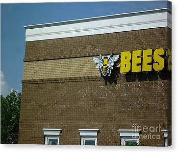 Canvas Print featuring the photograph Bees On Building by Renee Trenholm