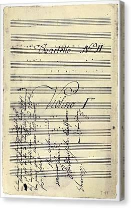 Beethoven Manuscript, 1799 Canvas Print by Granger