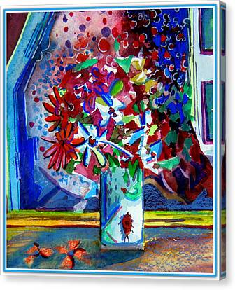 Beetle And Flowers Canvas Print by Mindy Newman