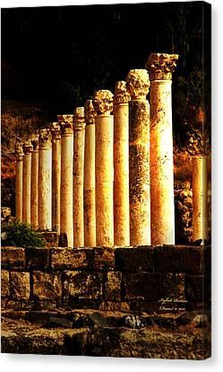 Beit She'an - Ancient Site - Colonnade.. Cardo 2 Canvas Print