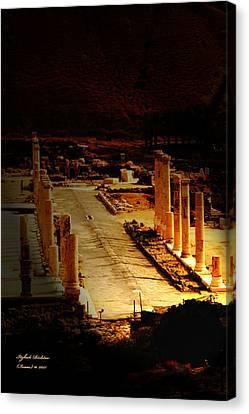 Beit She'an - Ancient Site - Colonnade.. Cardo Canvas Print
