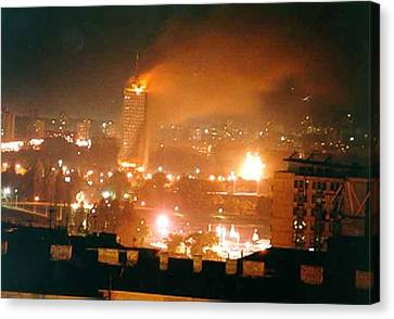 Belgrade Buildings On Fire On April 21 Canvas Print by Everett