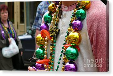 Canvas Print featuring the photograph Believe Dat Mardi Gras Beads by Jeanne  Woods