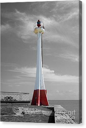 Canvas Print featuring the photograph Belize City Lighthouse Color Splash Black And White by Shawn O'Brien