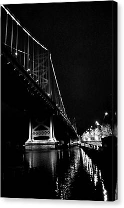 Ben Franklin Bridge And  Race Street Pier Canvas Print by Andrew Dinh