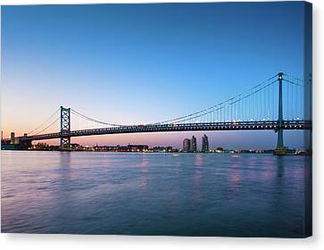 Ben Franklin Bridge Crossing The Delaware River Canvas Print by David Zanzinger