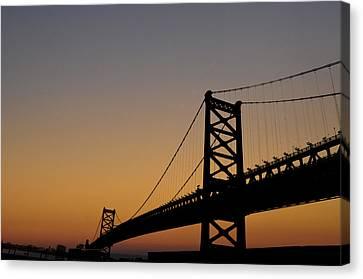 Ben Franklin Bridge Sunrise Canvas Print by Bill Cannon