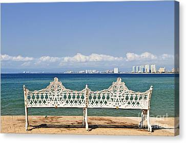 Bench On Malecon In Puerto Vallarta Canvas Print