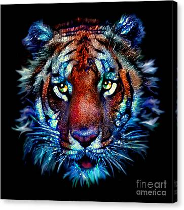 Canvas Print featuring the painting Bengal Tiger Portrait by Elinor Mavor