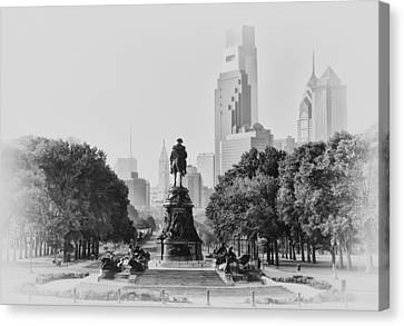 Benjamin Franklin Parkway In Black And White Canvas Print