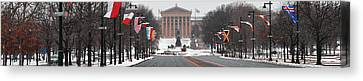 Benjamin Franklin Parkway Panorama Canvas Print by Bill Cannon