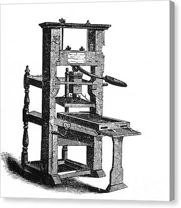 Benjamin Franklins Printing Press Canvas Print by Science Source