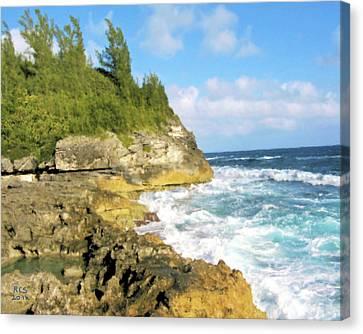 Canvas Print featuring the digital art Bermuda Cliff by Richard Stevens
