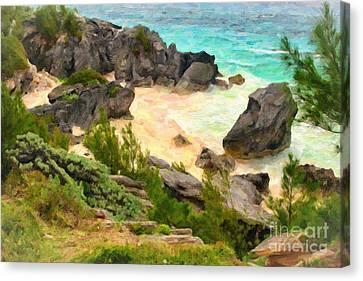 Canvas Print featuring the photograph Bermuda Hidden Beach by Verena Matthew