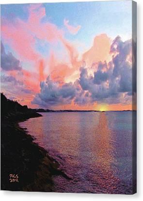 Canvas Print featuring the digital art Bermuda Sunset by Richard Stevens