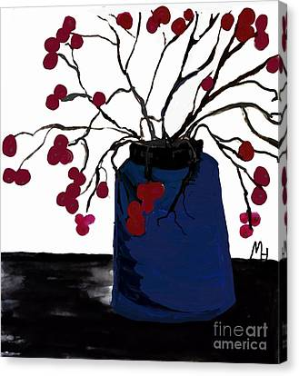 Berry Twigs In A Vase Canvas Print by Marsha Heiken