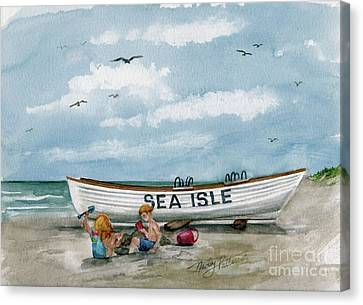 Canvas Print featuring the painting Best Buddies In Sea Isle  by Nancy Patterson