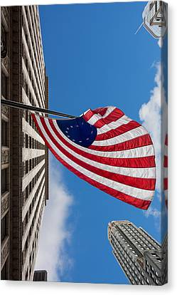 Betsy Ross Flag In Chicago Canvas Print by Semmick Photo