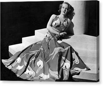 Bette Davis Wearing Gown With Calla Canvas Print by Everett