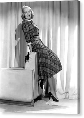 Betty Grable In Plaid, Pleated Sports Canvas Print by Everett
