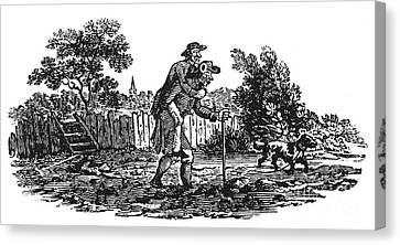 Bewick: Man Carrying Man Canvas Print by Granger