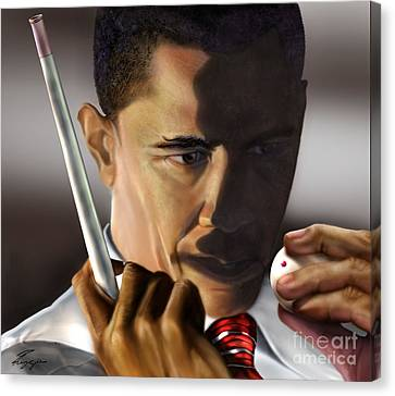Barack Obama Canvas Print - Beyond Sharky Waters by Reggie Duffie