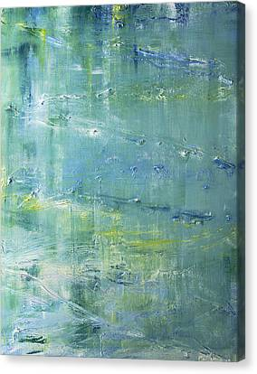 Canvas Print featuring the painting Beyond The Pond by Dolores  Deal
