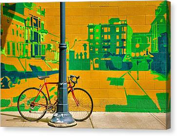 Bicycle And Mural Canvas Print by Steven Ainsworth