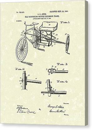 Bicycle Extension Frame 1903 Patent Art Canvas Print by Prior Art Design