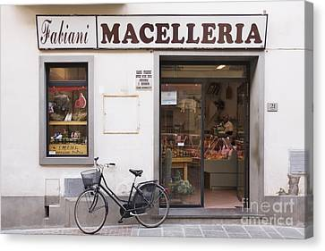 Bicycle In Front Of Italian Delicatessen Canvas Print by Jeremy Woodhouse