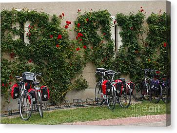 Bicycles Parked By The Wall Canvas Print by Louise Heusinkveld