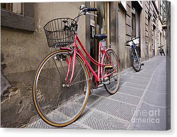 Bicycles Parked In The Street Canvas Print