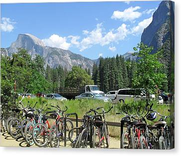 Bicycles Yosemite Canvas Print by Beth Saffer