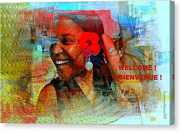 Painted Details Canvas Print - Bienvenue - Welcome by Fania Simon