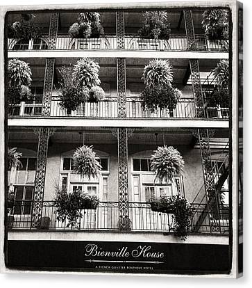 Bienville House In Black And White Canvas Print by Tammy Wetzel