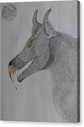 Canvas Print featuring the drawing Big Bad Wolf by Gerald Strine