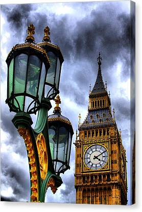 Big Ben And Lamp - Hdr Canvas Print by Colin J Williams Photography